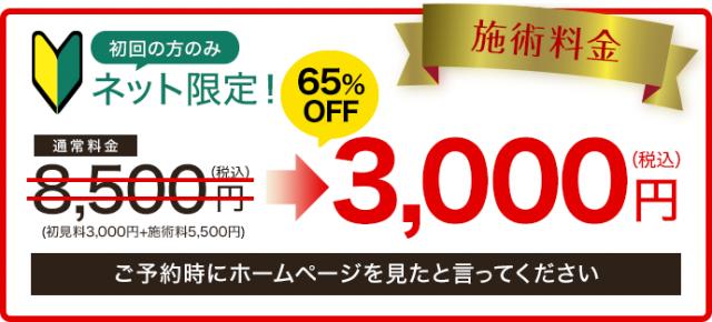 通常料金8,500円→3,000円